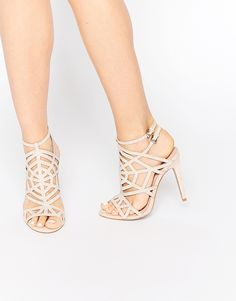 67a90c29586f47 Faith Little Nude Embellished Caged Heeled Sandals