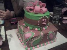 Baby shower cake w/ Paisley design.  Add on facebook (Sweets Galore and More) and visit the website -- www.sweetsgalore27.webs.com