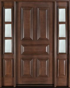 Classic Series Mahogany Solid Wood Front Entry Door - Single with 2 Sidelites - DB-103 2SL