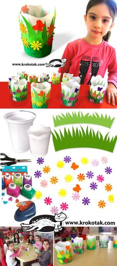 DIY Decorated Spring Cups: Easter baskets by joanne. Easter Activities, Spring Activities, Craft Activities, Easter Art, Easter Crafts, Projects For Kids, Diy For Kids, Crafts To Do, Crafts For Kids