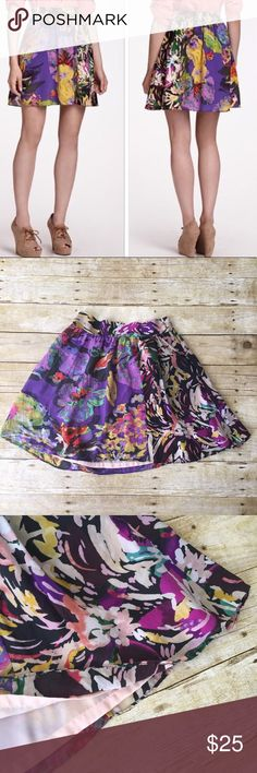 Anthropologie Maeve Silk Patterned Skirt Very gently worn! Great condition. Anthropologie Skirts