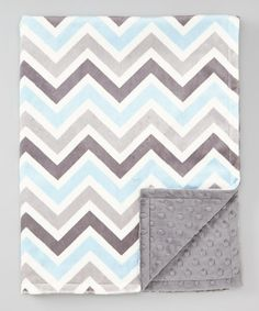 Gray & Baby Blue Zigzag Minky Stroller Blanket | Nursery Color Theme!