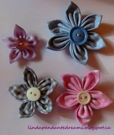 Craftgrrl - Where Crafters Unite! - Simple fabric button flowers.