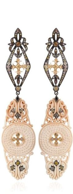 Carved Fossilized Mammoth And Diamond Circle Earrings by Bochic for Preorder on Moda Operandi