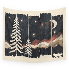 "Society6 A Starry Night In The Mountains... Wall Tapestry Large: 88"" x 104"""