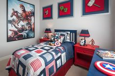 Artesian Ranch - traditional - Kids - Phoenix - Maracay Homes Design Studio Boys Bedroom Furniture, Blue Bedroom Decor, Kids Bedroom, Bedroom Ideas, Avengers Room, Marvel Room, Superhero Room, Room Themes, New Room