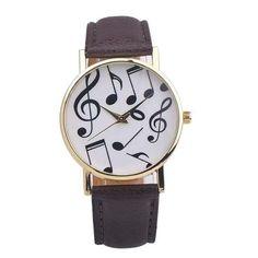 Watches women Fashion 2017 Musical Notes PU Leather wrist watch, quartz watch Clock Female Montre Femme