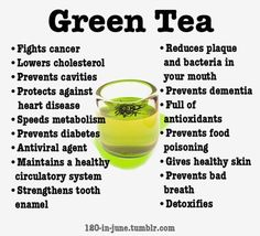 Natural Health Tips - Drink green tea 3-5x a day. In the evening add a tablespoon of raw organic apple cider vinegar.