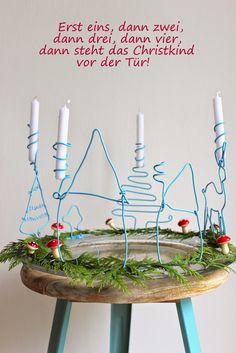 pfefferminzgruen: DIY - Adventskranz aus Draht