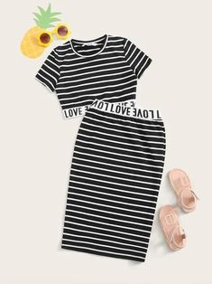 - Girls Striped Letter Tape Detail Crop Top & Skirt Set – Kidenhouse Teenage Outfits, Kids Outfits Girls, Cute Girl Outfits, Cute Casual Outfits, Stylish Outfits, Girls Fashion Clothes, Tween Fashion, Teen Fashion Outfits, Vetement Fashion