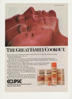 1988 Advertisement Eclipse Sunscreen Products Tanning Suntan 80s Skin Cancer Prevention SPF Salon Office Clinic Decor by fromjanet on Etsy https://www.etsy.com/listing/153276789/1988-advertisement-eclipse-sunscreen