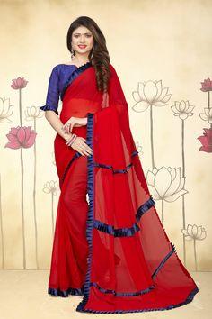 Red Plain Georgette Saree With Blouse Designer Blouse Patterns, Blouse Designs, Indian Sarees, Silk Sarees, Plain Georgette Saree, Alia Bhatt Photoshoot, Cotton Blouses, Classy Women, Saree Wedding