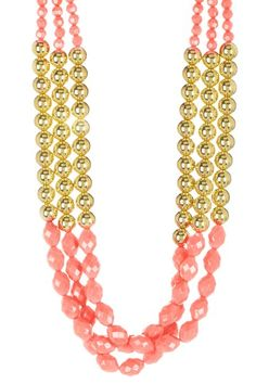 Gold & Pink Triple Beaded Necklace by Be Bright: Jewelry Shop on @HauteLook