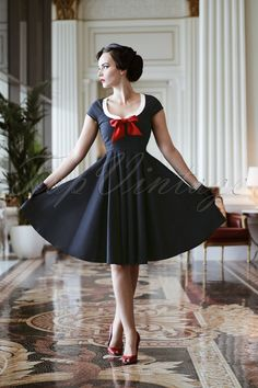 Vintage Diva Dovima Swing Dress in Dark Navy 20479 20170301 Vintage Outfits, Retro Outfits, Outfits For Teens, Vintage Dresses, 50 Fashion, Retro Fashion, Vintage Fashion, Rockabilly Fashion, Lolita Fashion
