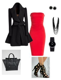 """""""Valentine's Day Inspiration"""" by neugentssole on Polyvore featuring CÉLINE, Betsey Johnson, Movado, Velvet, women's clothing, women's fashion, women, female, woman and misses"""