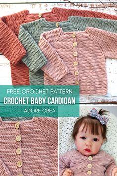 Crochet Baby Cardigan Free Pattern, Crochet Baby Jacket, Crochet Baby Sweaters, Newborn Crochet Patterns, Baby Sweater Patterns, Free Crochet, Crochet Baby Girls, Baby Boy Knitting Patterns Free, Crochet Baby Clothes Boy