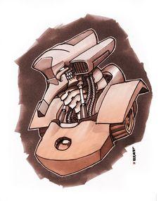 buste de robot encre + feutre alcool sur bristol, dégradé photoshop #robot