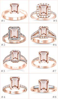 Emerald Cut Morganite Engagement Rings deBebians