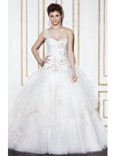 One Shoulder Chapel Train Tulle Ball Gown Wedding Dress
