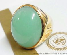 Natural Jadeite Type A Untreated 14K Gold Massive 38tcw Mens Vintage 21g Ring
