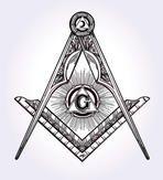 Freemasonry emblem, masonic square compass God symbol. Trendy alchemy element. Religion philosophy, spirituality, occultism, chemistry, science, magic. Design tattoo art. Isolated vector illustration.