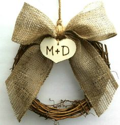 Pew bow or wreaths rustic wedding decorations set of six. $72.00, via Etsy.