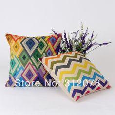 Home Decor Chevron Geometric  Rainbow Linen Cushion Covers Pillow Case, 2 pcs/set, 45*45CM