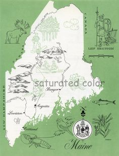 Maine Map  Vintage colorful illustrated map of by SaturatedColor, $10.00. This would be good for our lake house on Magunicook.