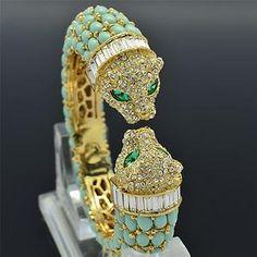 Rhinestone Crystals Blue Acrylic Animal 2 Leopard Bracelet Bangle Cuff 00988