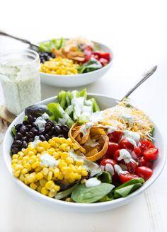 Southwest Salad with Cilantro Ranch Dressing from @megdenea