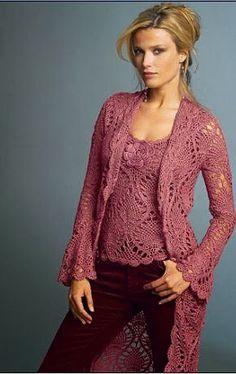 crochelinhasagulhas: Blusa e casaco de crochê