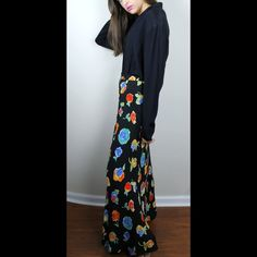 "Vintage Cache Floral High-Waisted Maxi Skirt Maxi skirt, 43"" Waist to hem length.                        Vintage size 8, fits modern size 2/4.                      100% rayon.                                                              Ask me about discounted shipping options!     IG @rockstarqueenboutique Cache Skirts Maxi"