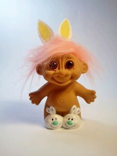 Vintage Naked Bunny Troll Doll by Russ. $15.00, via Etsy.