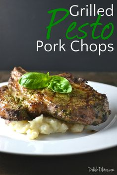 Grilled pesto pork chops are elegant and delicious. Slather center cut pork chops with rich pesto, then grill them to lock in the delicious flavor. Pork Rib Recipes, Grilling Recipes, Cooking Recipes, Healthy Recipes, Grilling Ideas, Smoker Recipes, Cooking Tips, Healthy Food, Pesto