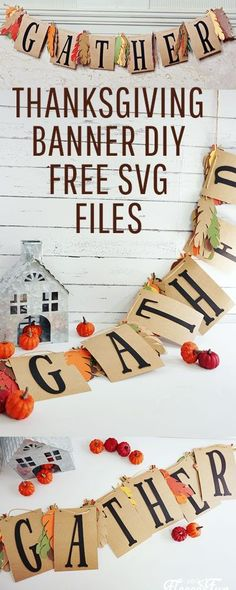 Thanksgiving project: This lovely Gather Thanksgiving banner DIY is perfect for adding beauty to any Thanksgiving and fall decor. With it's simple, but elegant design it is the perfect accompaniment to your festivities. #thanksgiving #thanksgivingcrafts #thanksgivingdecorations #banner Thanksgiving Banner, Thanksgiving Projects, Thanksgiving Parties, Thanksgiving Decorations, Craft Projects For Adults, Fun Projects, Sewing Projects, Craft Ideas, Fall Sewing
