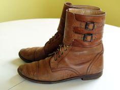 vintage ralph lauren granny boots. lace up. buckle straps. tan leather. combat jump boot.