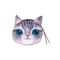 Cute Cat Change Purse OASAP.COM (12 CAD) ❤ liked on Polyvore featuring bags, wallets, coin case, coin purse wallets, white wallet, zip wallet and zipper coin purse