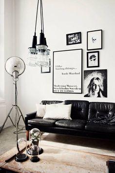 Nsmbl warhol print coffee table wood lighting black white leather sofa