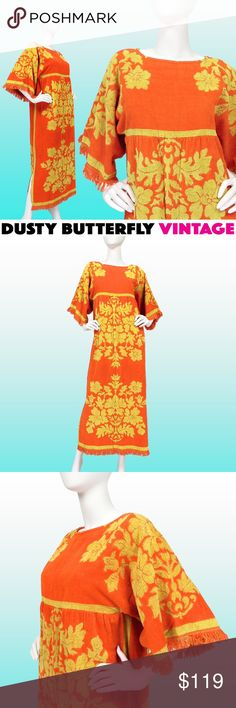 VINTAGE 60s MUU MUU BEACH COVER UP Towel Dress Rare vtg 60s muumuu beach cover up made of psychedelic luxury towel construction. Double duty terry cloth; wear it or lay on it as the mood strikes...☀️  •Orange & yellow 60s pop baroque pattern •Empire waist •Fringed sleeves+hem •Side slits •Rear zip •100% cotton •Brand: Cannon Mills Co •Very good vtg condition  Vtg sz M. Best modern fit:S-M •Bust: Free-best for 36-38 •Empire waist:36 •Hips:44 •Length:53  Suggested User Top Rated Seller Fast…