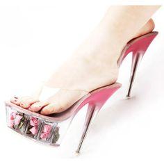 Clear Pink Stiletto High Heel Platform Prom Cocktail Sandals Shoes SKU-1090923