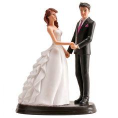 Romántica figura para la tarta de boda, dos novios cogidos de la mano