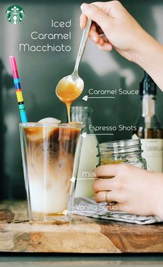 Iced Caramel Macchiato recipe (for a 16oz cup): Add 3 pumps of vanilla syrup, pour in milk until it reaches about 2 inches from the top, fill with ice 1/2 inch from the top, add 2 shots of espresso, top with caramel. (If you want more caramel, try drizzling the sides of the cup with caramel before all other ingredients.) Enjoy!