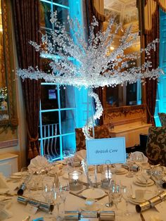 crystal tree table centres for weddings and events, large silver trees, wedding table centres, table centres for events, crystal trees, large crystal tree.