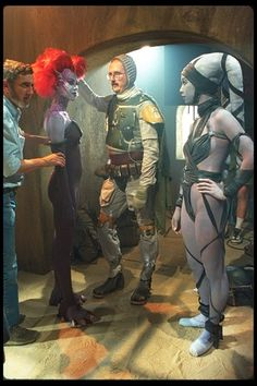 Boba Fett unmasked on the set of the additional Jabba's Palace scenes filmed for the Star Wars special editions