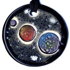 Three Planets Ceramic Necklace in Black and Gray by surly on Etsy, $20.00