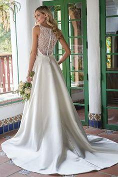 - Jasmine Bridal Gorgeous Italian Satin A-line Wedding Dress with V-Neckline Elegant Wedding Gowns, White Wedding Dresses, Bridal Dresses, Luxury Wedding, Dusty Pink Bridesmaid Dresses, Jasmine Bridal, Event Dresses, Marie, Shower
