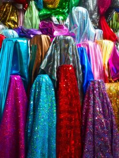 sequin and lurex fabric market stall in Shanghai