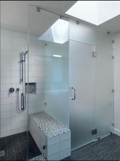 Glass tiles in shower nook...