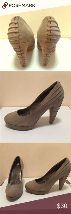Nude platform heels, size 8.5 These are Buckle brand nude platform heels with a pleating detail. In excellent condition, only worn once. Buckle Shoes Platforms