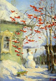 Ideas For Winter Landscape Painting Ideas Winter Painting, Winter Art, Christmas Paintings, Russian Art, Russian Painting, Christmas Illustration, Winter Landscape, Winter Scenes, Art Plastique